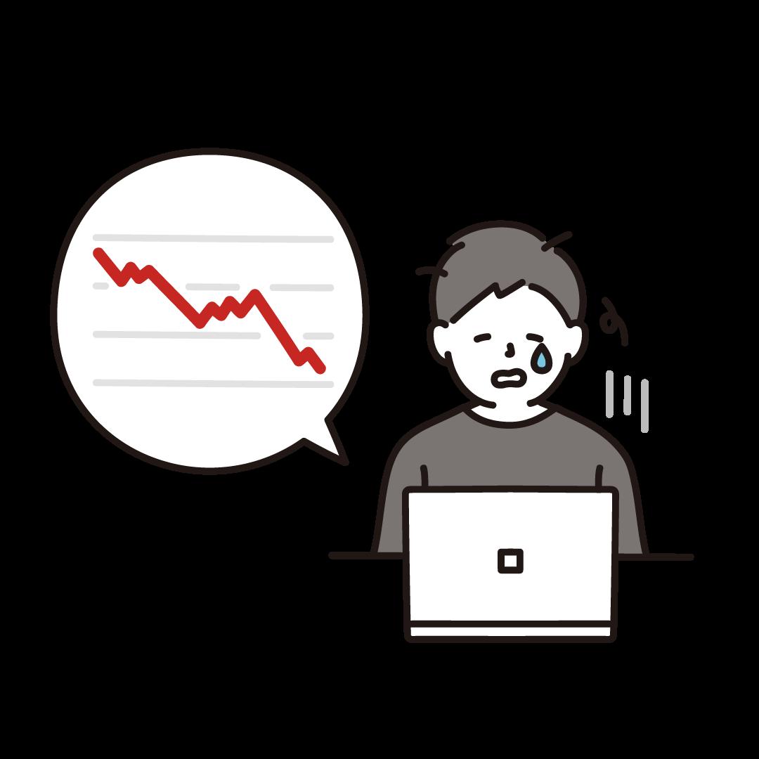 株価が暴落してショックを受けてる男性のイラスト