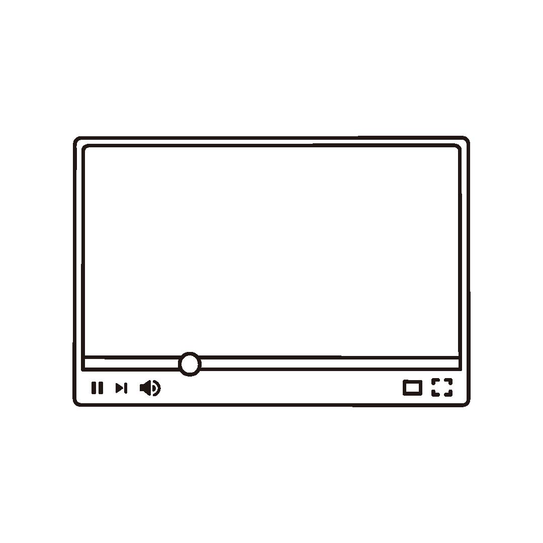 ネット動画プレーヤーのフレーム素材のイラスト (線のみ)