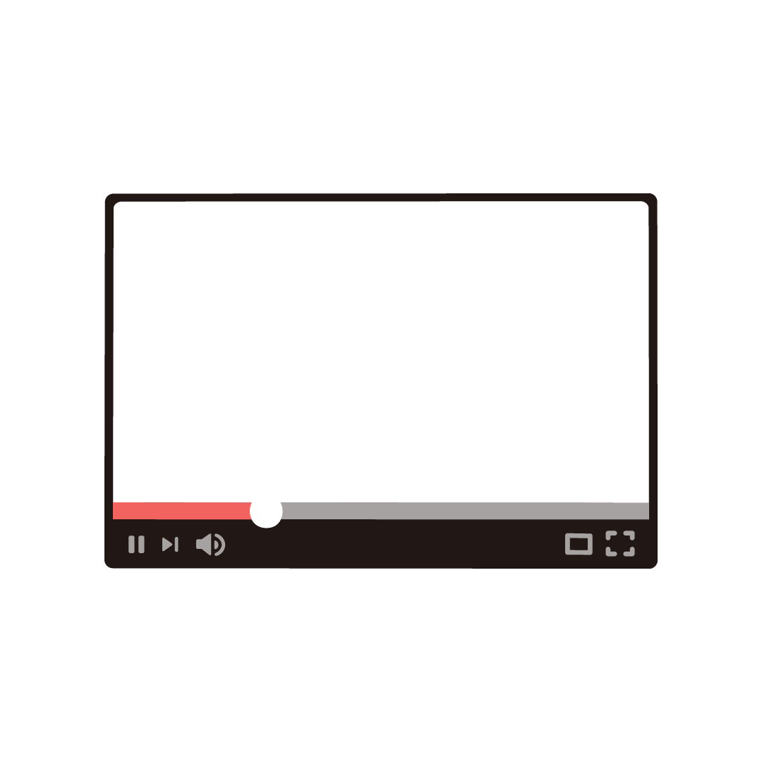 ネット動画プレーヤーのフレーム素材のイラスト (塗り)