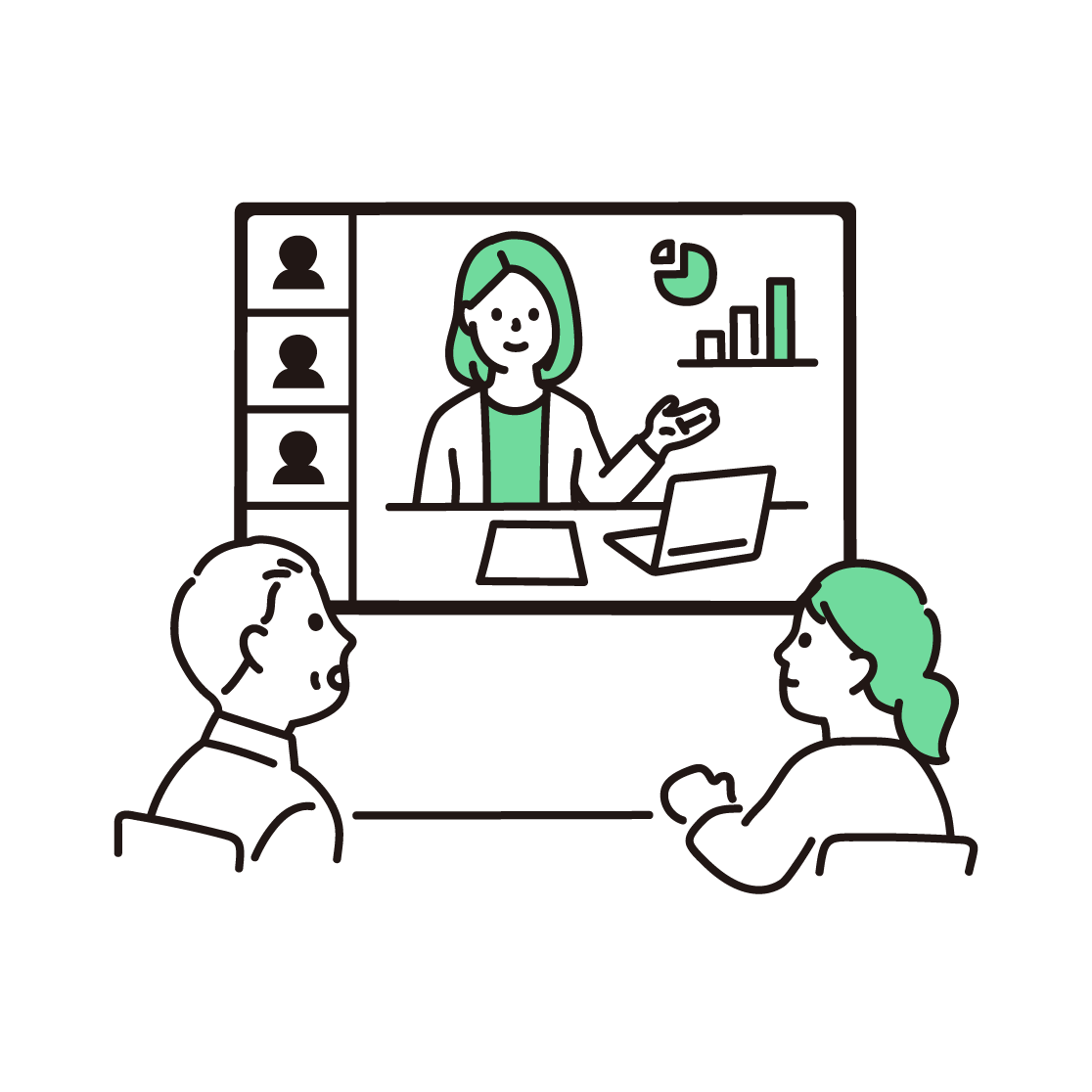 ビデオ会議の単色イラスト