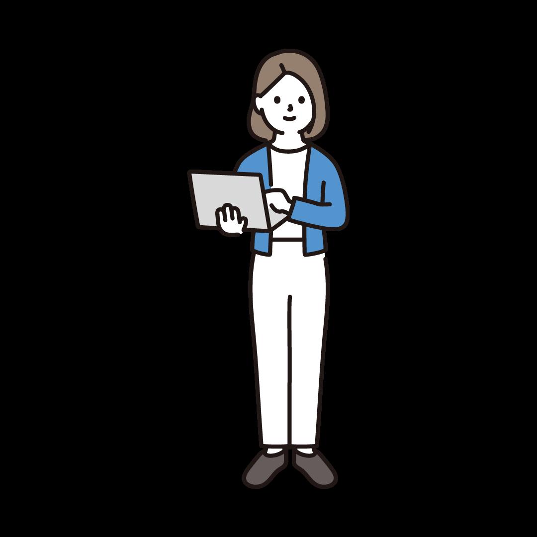 パソコンを持って立っている女性のイラスト