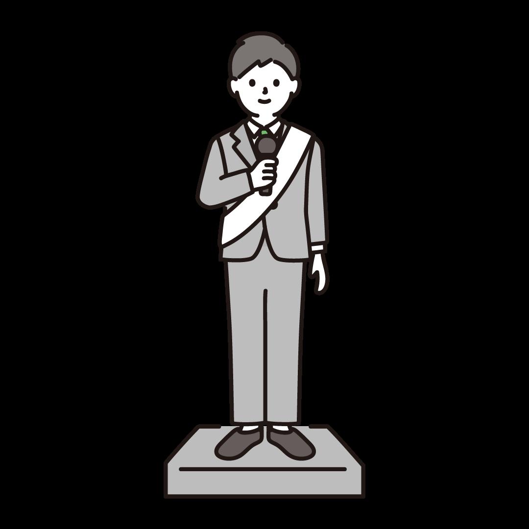 選挙演説をする男性のイラスト