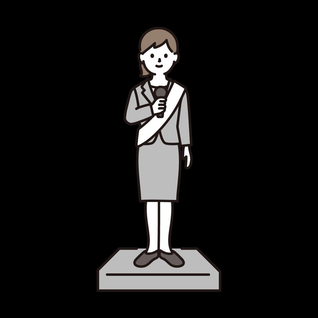 選挙演説をする女性のイラスト