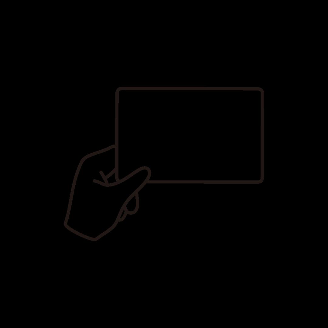 カードを持つ手(空白)の線画イラスト