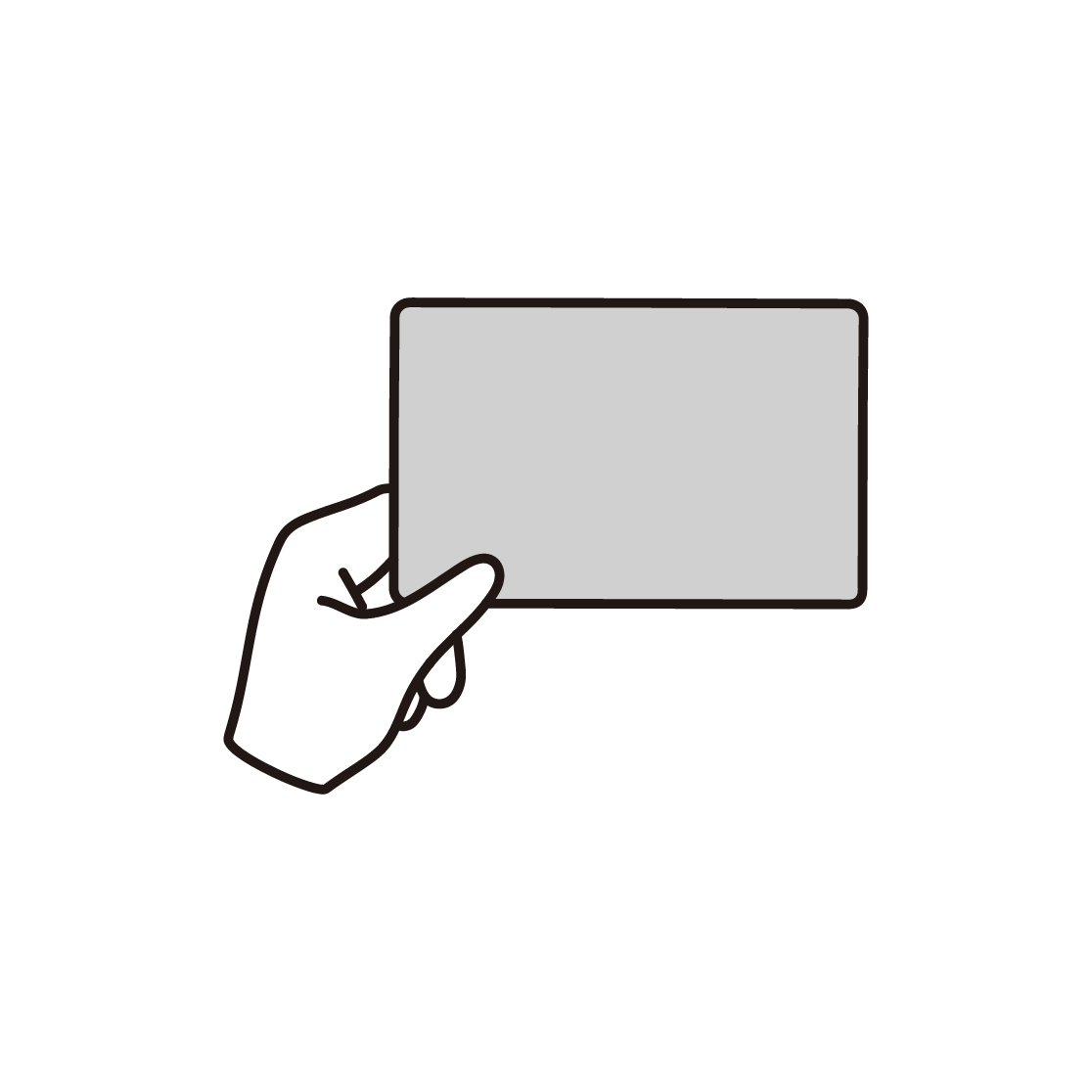 カードをもつ手のイラスト(単色)