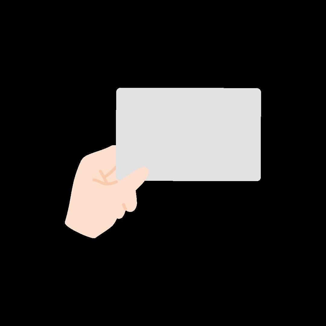 カードを持つ手(空白)の塗りイラスト