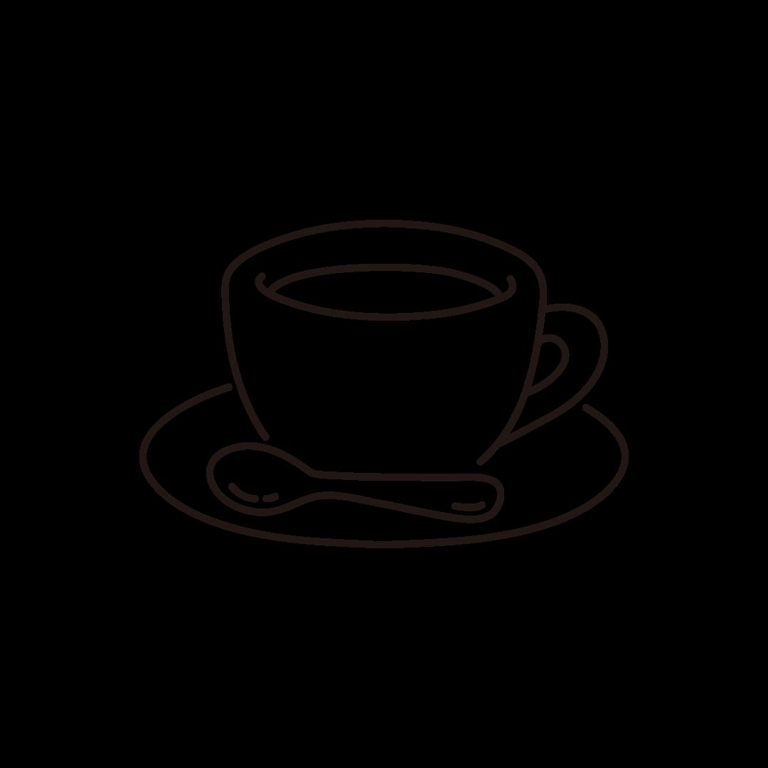 コーヒー・コーヒーカップの線イラスト