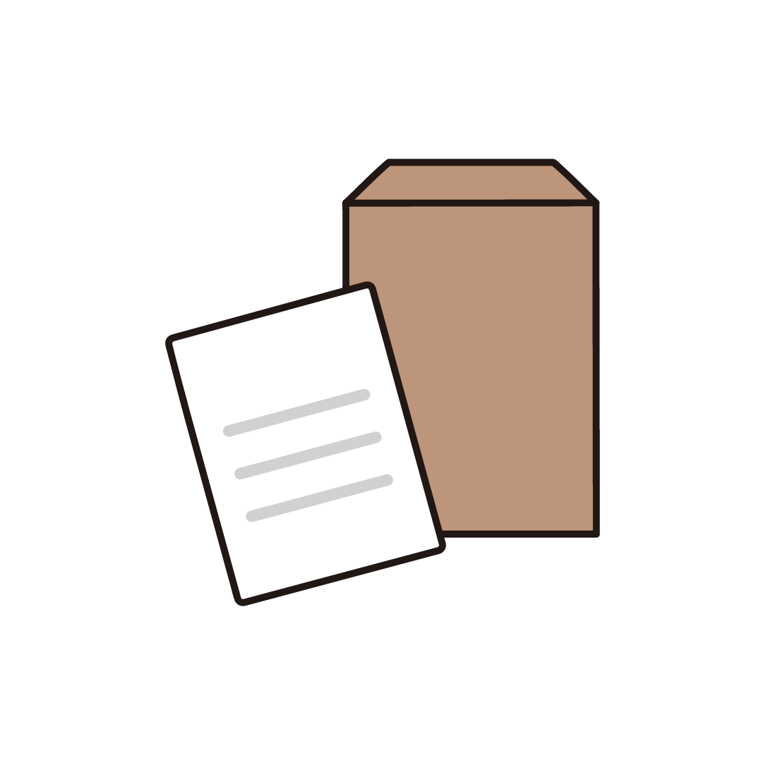 封筒と書類のイラスト
