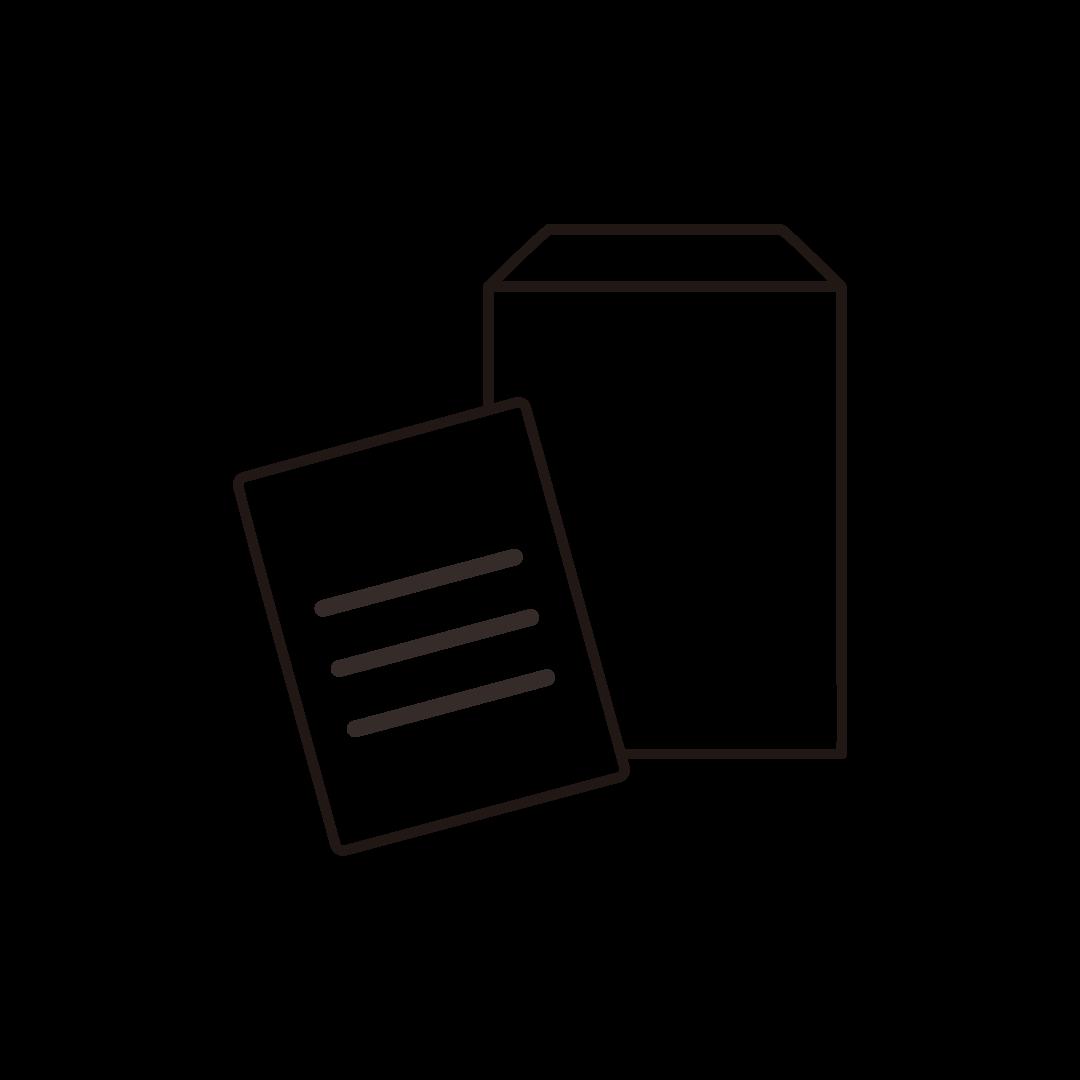 封筒と書類の線イラスト