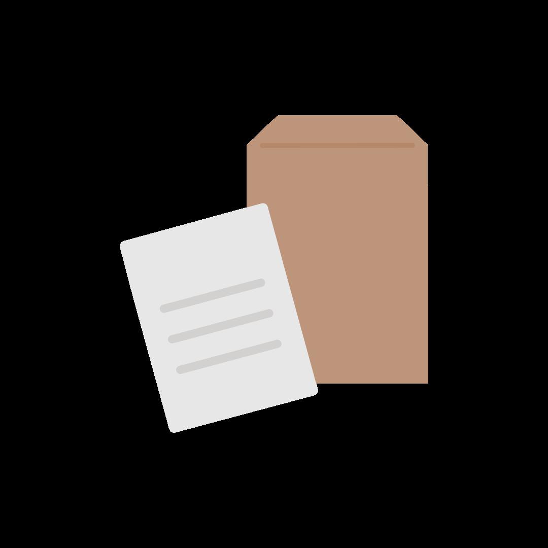 封筒と書類の塗りイラスト