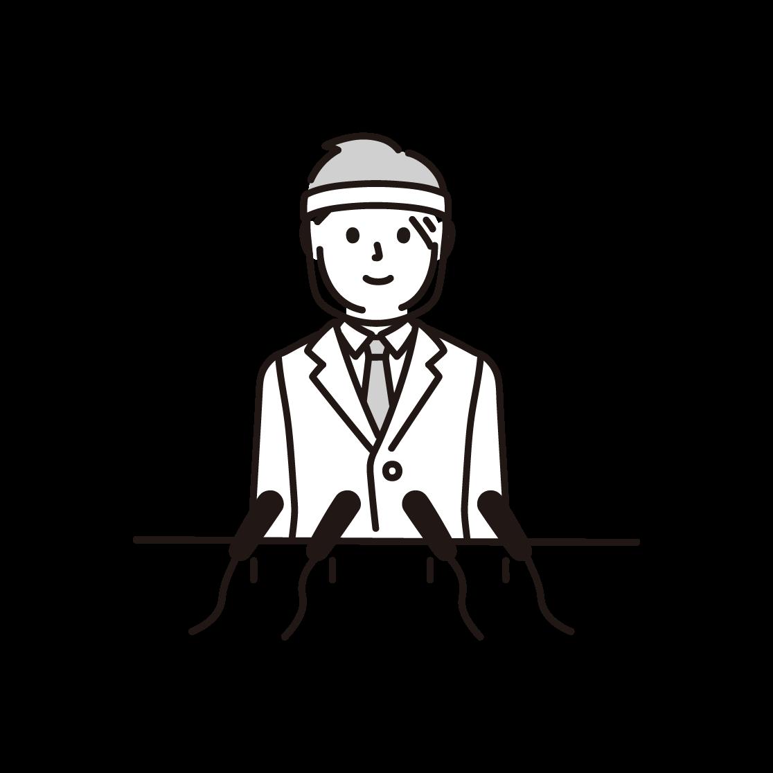 フェイスシールドをつけて会見する人の単色イラスト