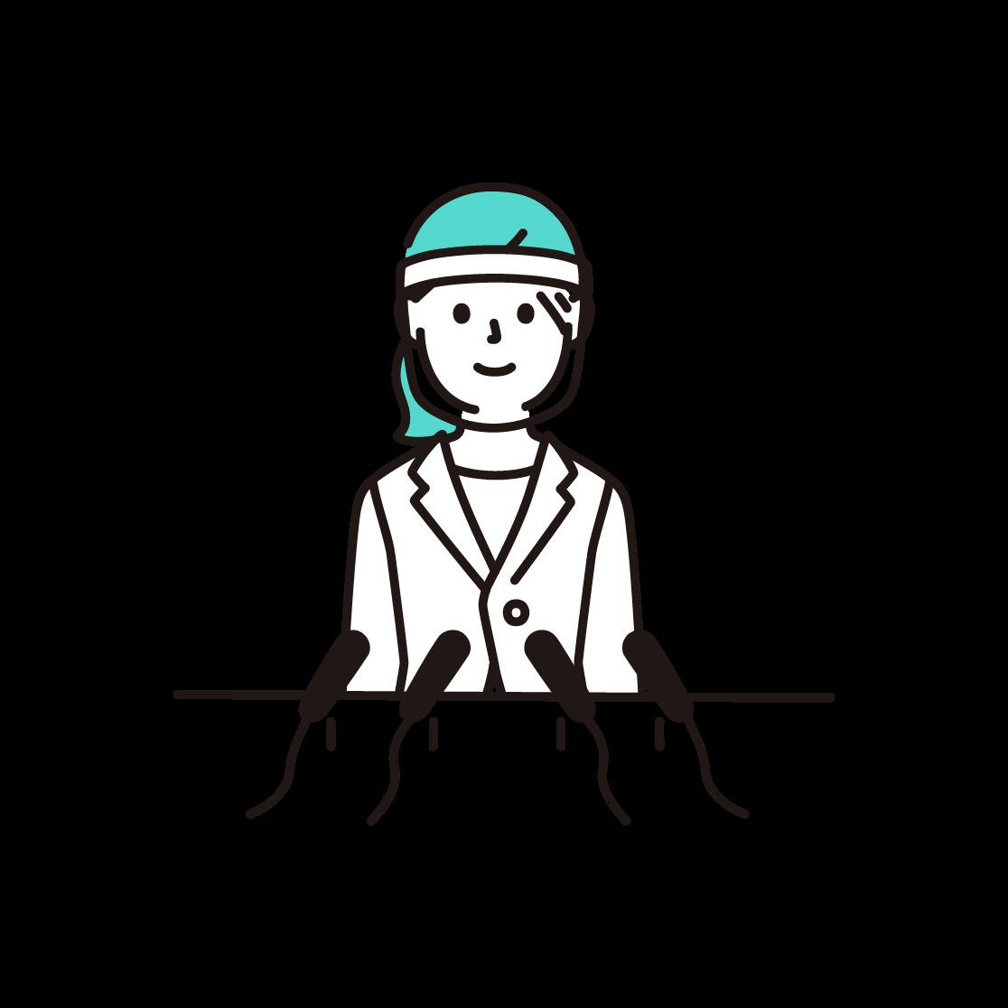 フェイスシールドをつけて会見する女性のイラスト(単色)