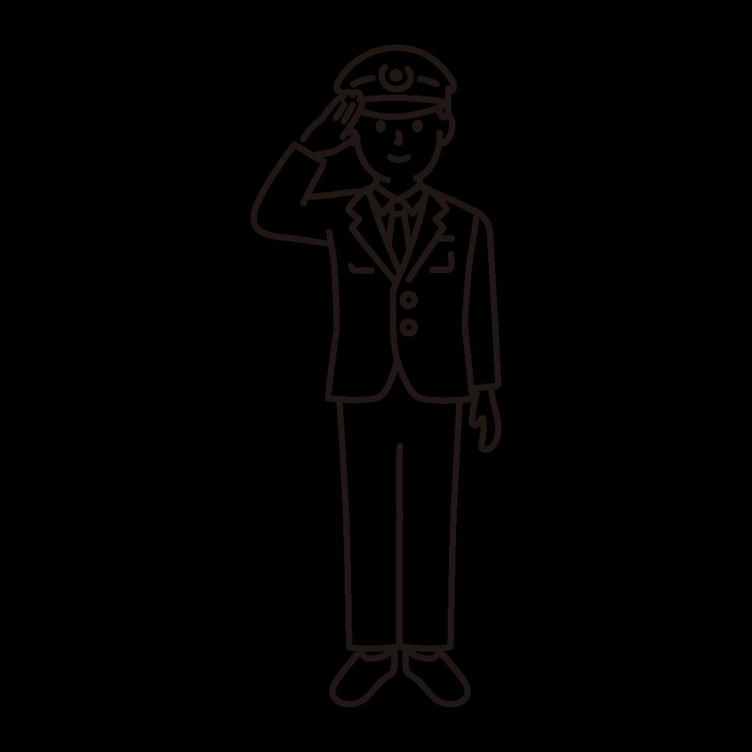 警察官(男性)の線画イラスト