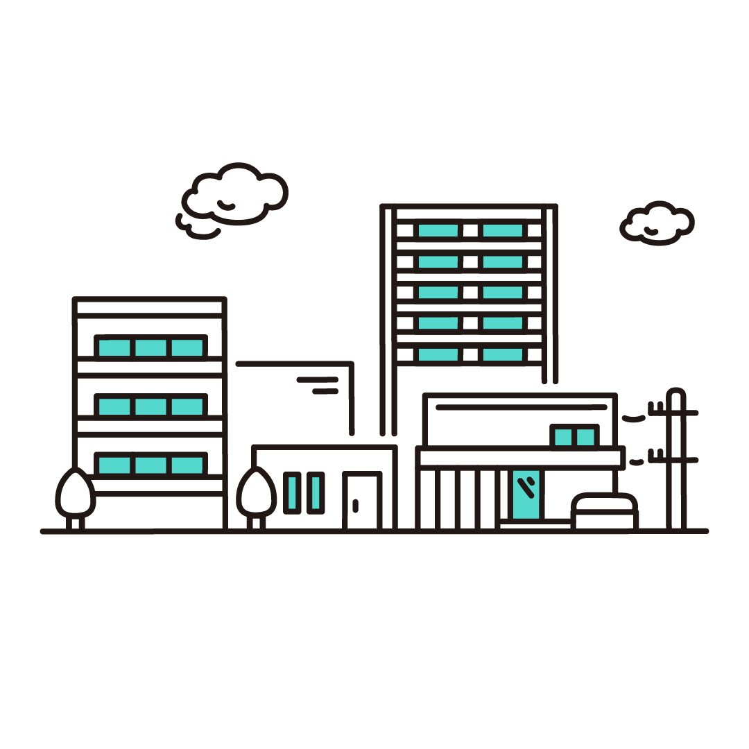 住宅街のイラスト(エメラルド)