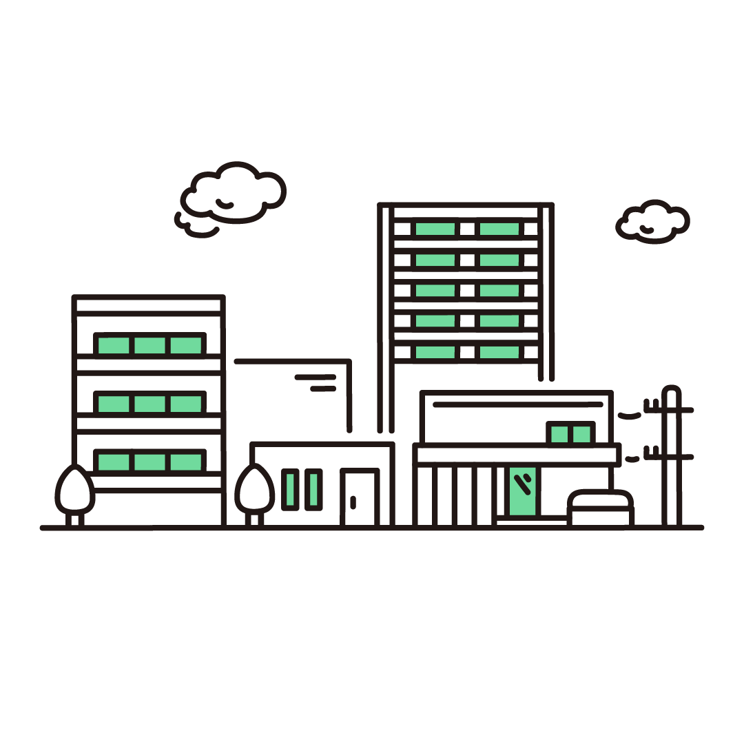 住宅街のイラスト(グリーン)