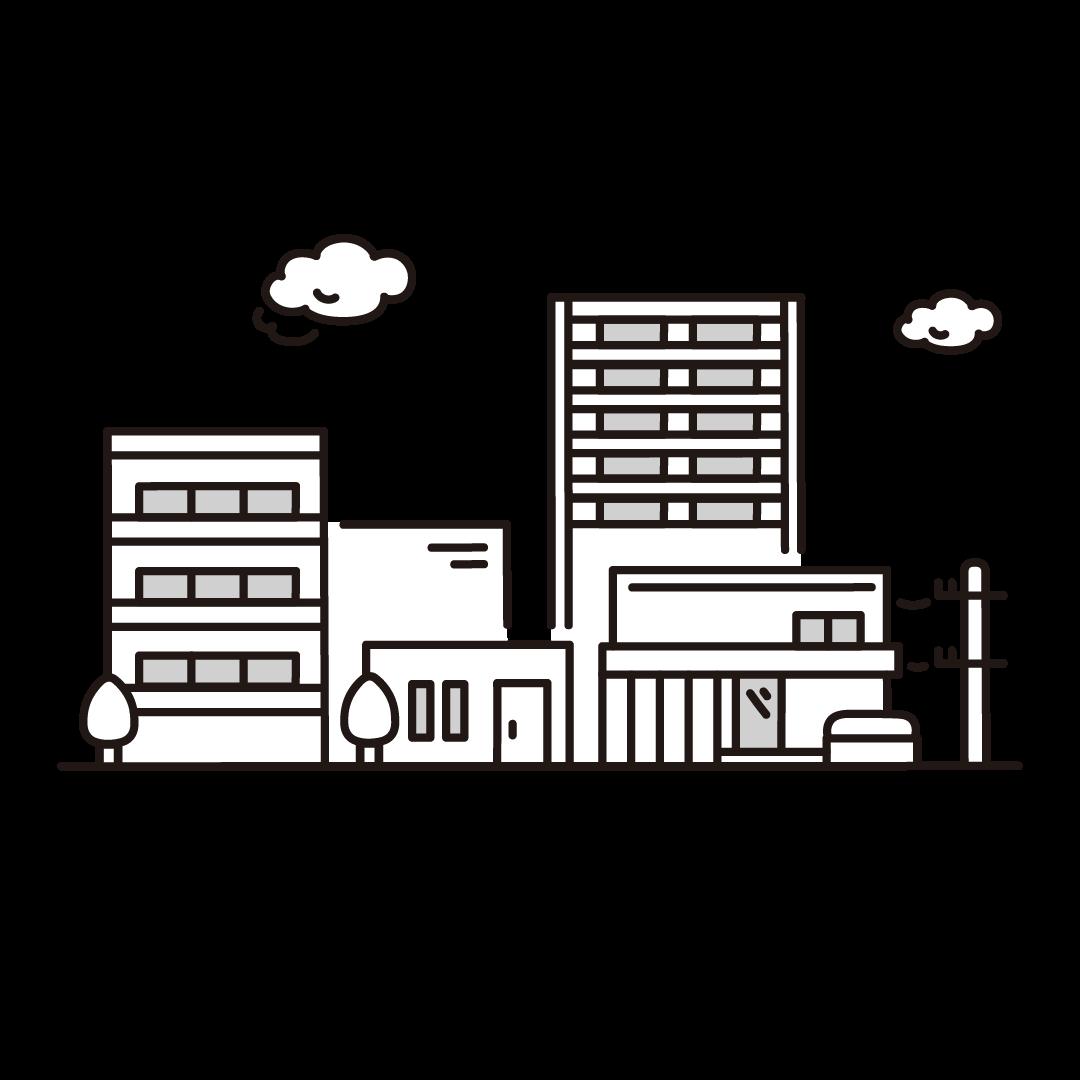 住宅街のイラスト(グレー)