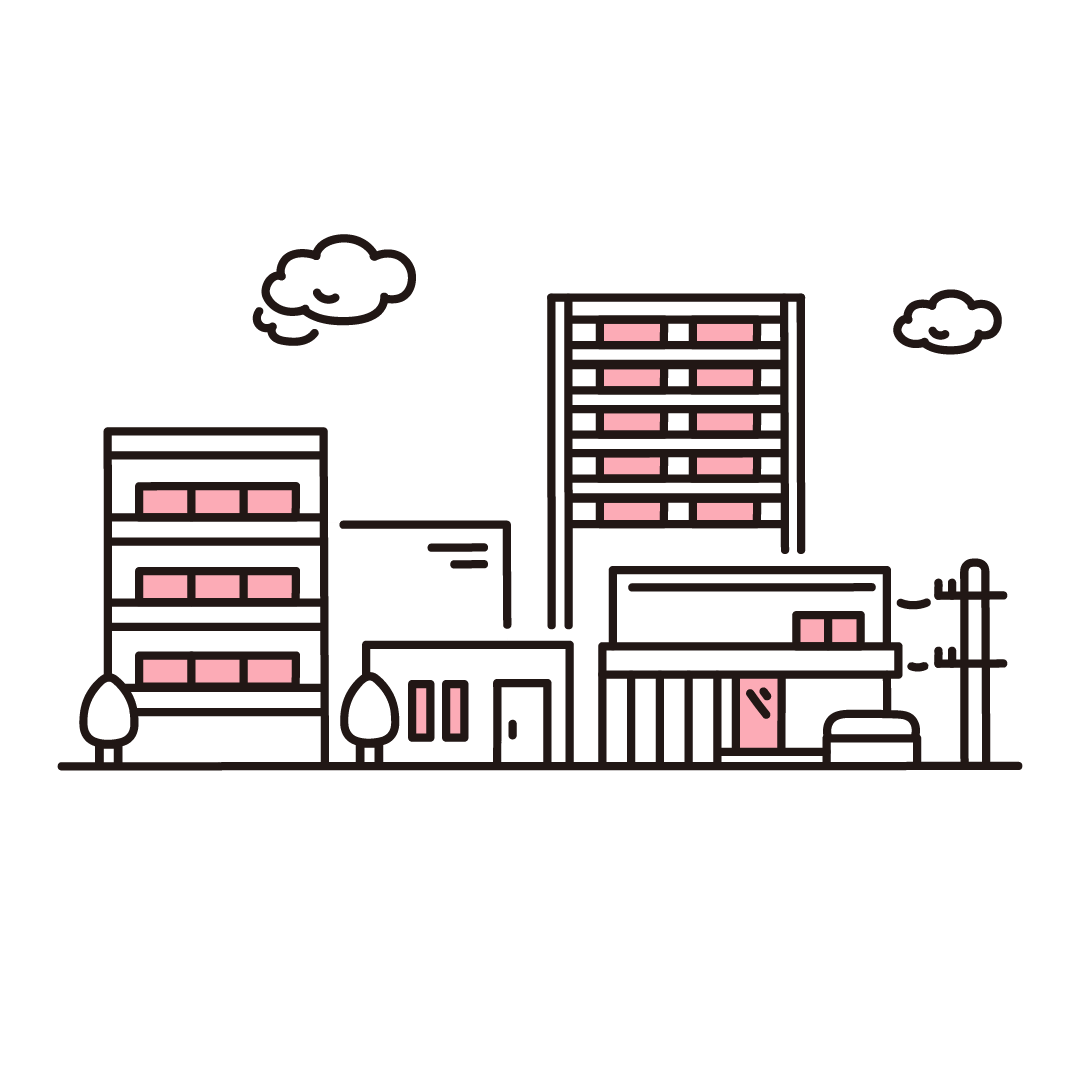 住宅街のイラスト(ピンク)