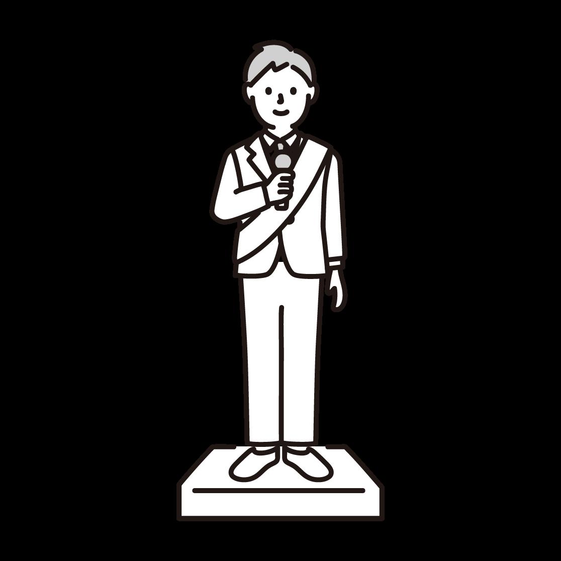 選挙演説をする男性の単色イラスト