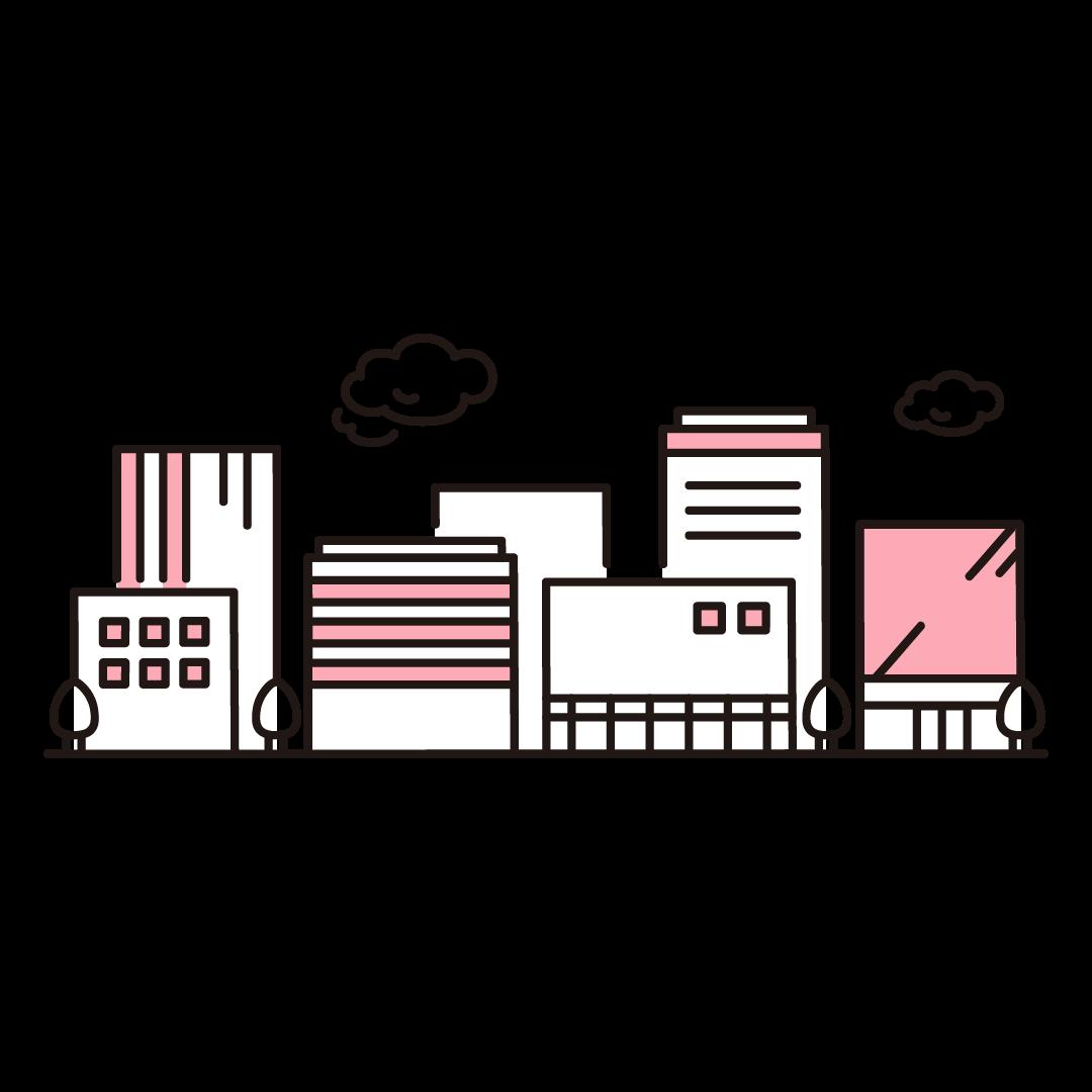 ビルの街並みのイラスト(ピンク)
