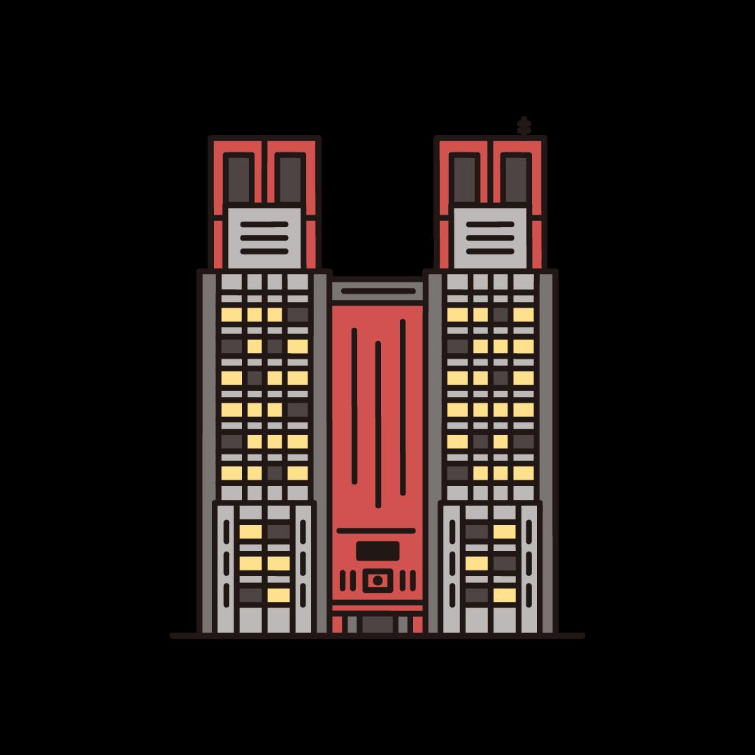 東京アラート(都庁)のイラスト