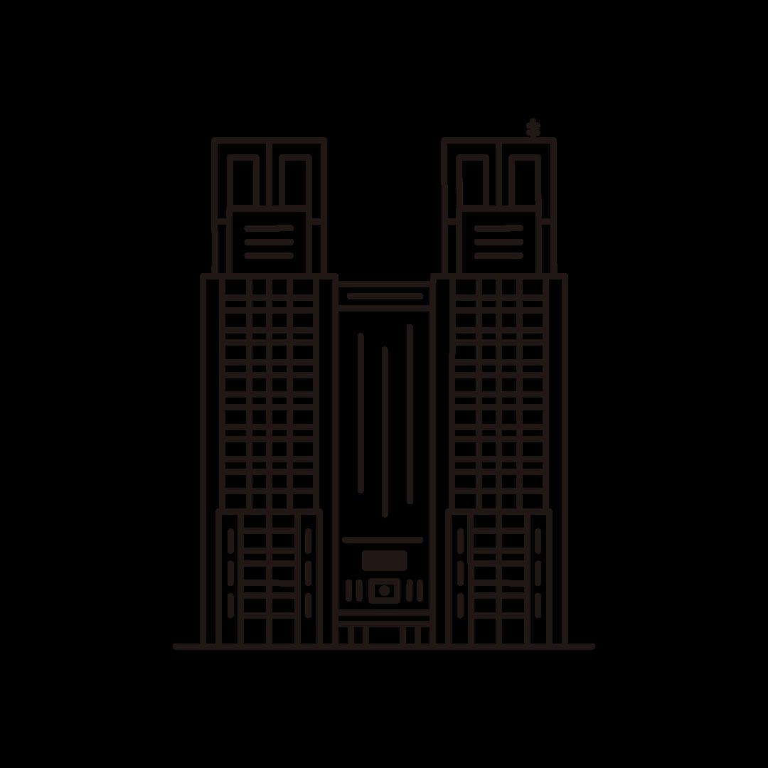 東京アラート(都庁)の線イラスト