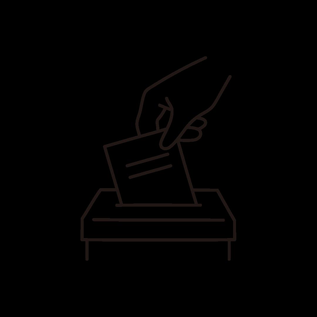 投票箱(選挙)の線イラスト