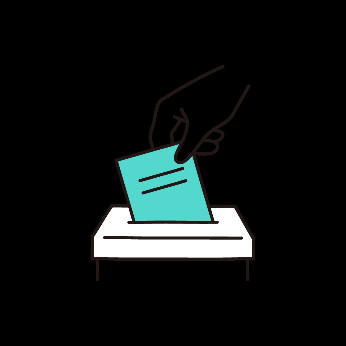 投票箱の単色イラスト