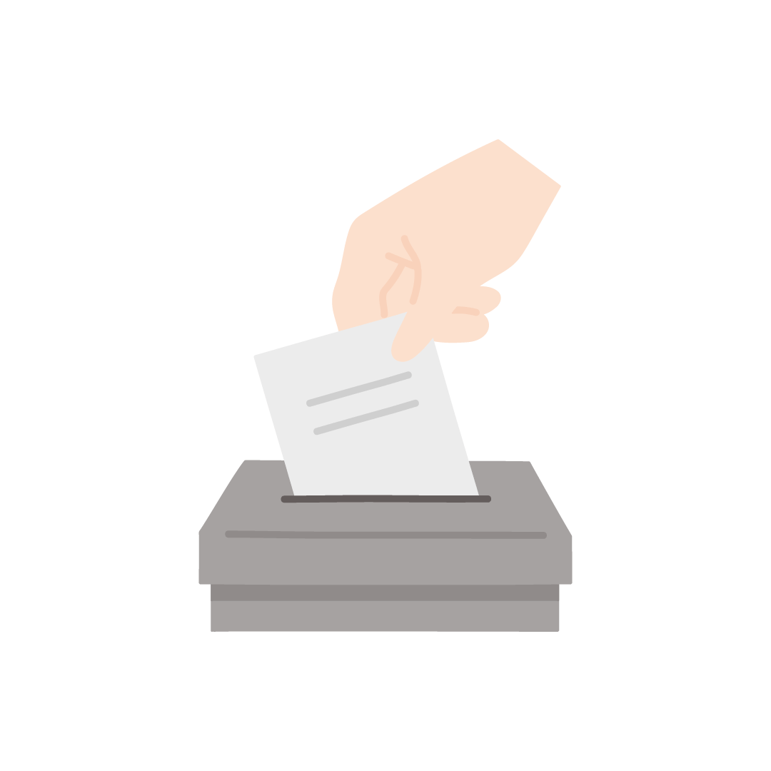 投票箱(選挙)の塗りイラスト
