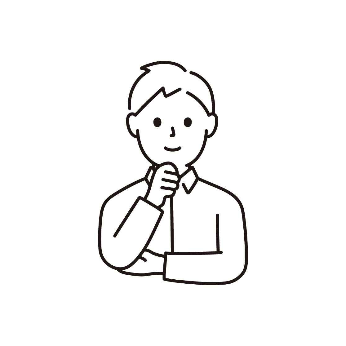 顎に手を当てる男性の線画イラスト