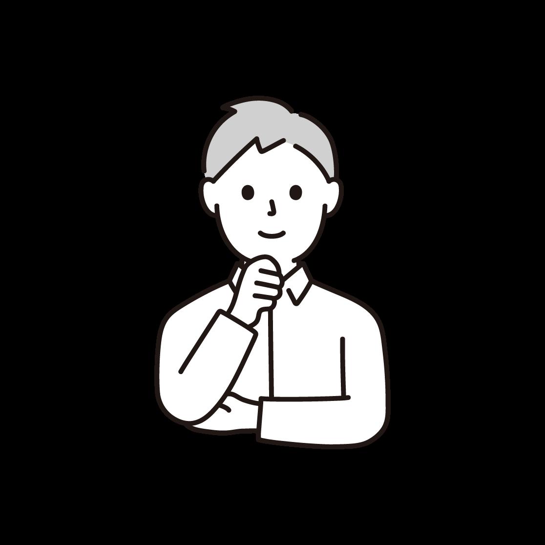 顎に手を当てる男性の単色イラスト