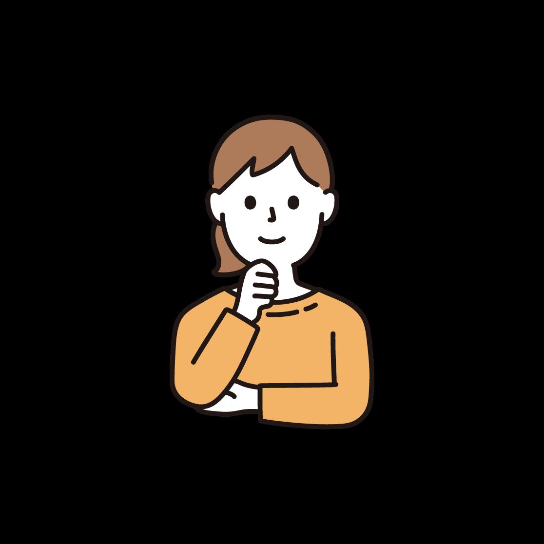 顎に手を当てる女性のイラスト
