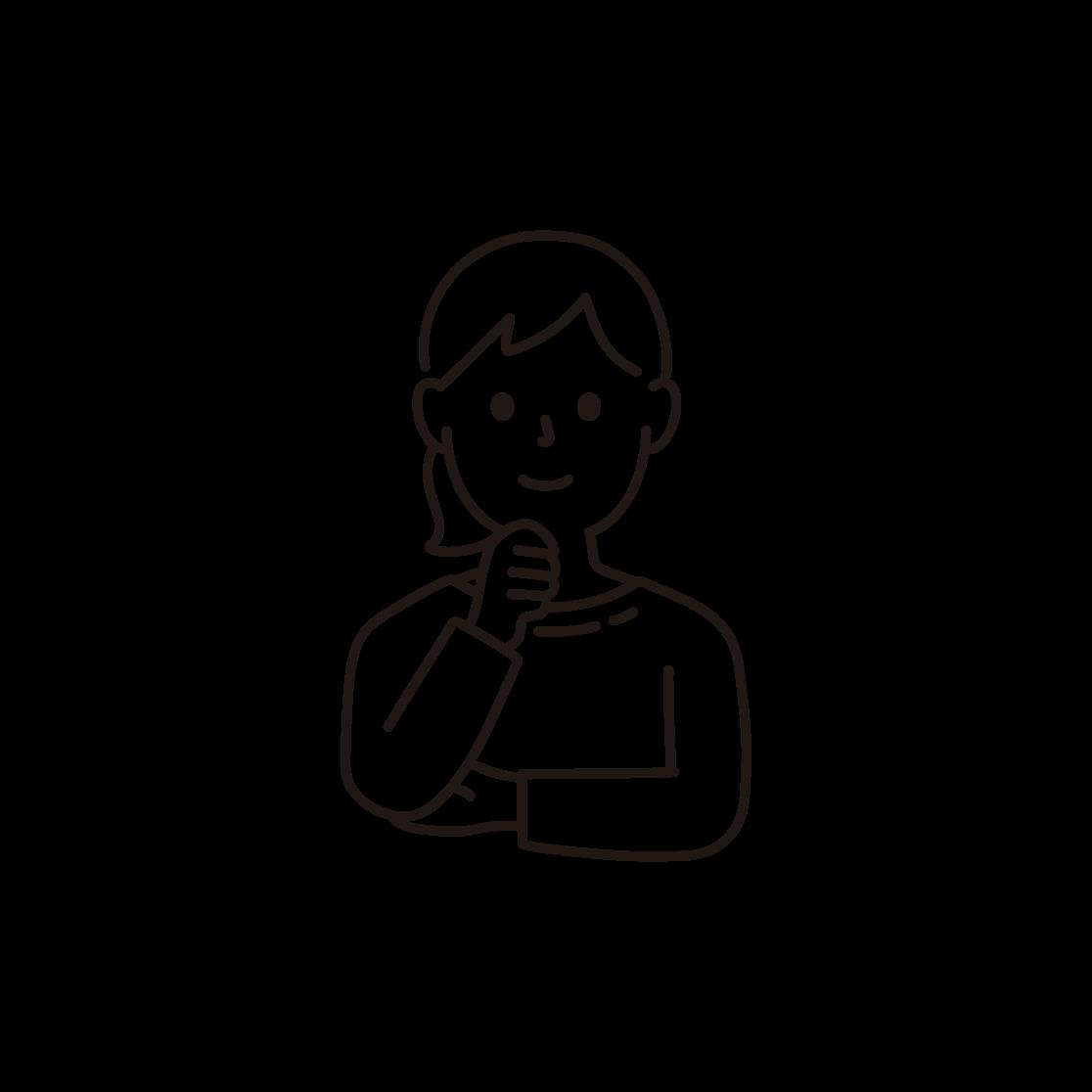 顎に手を当てる女性の線画イラスト