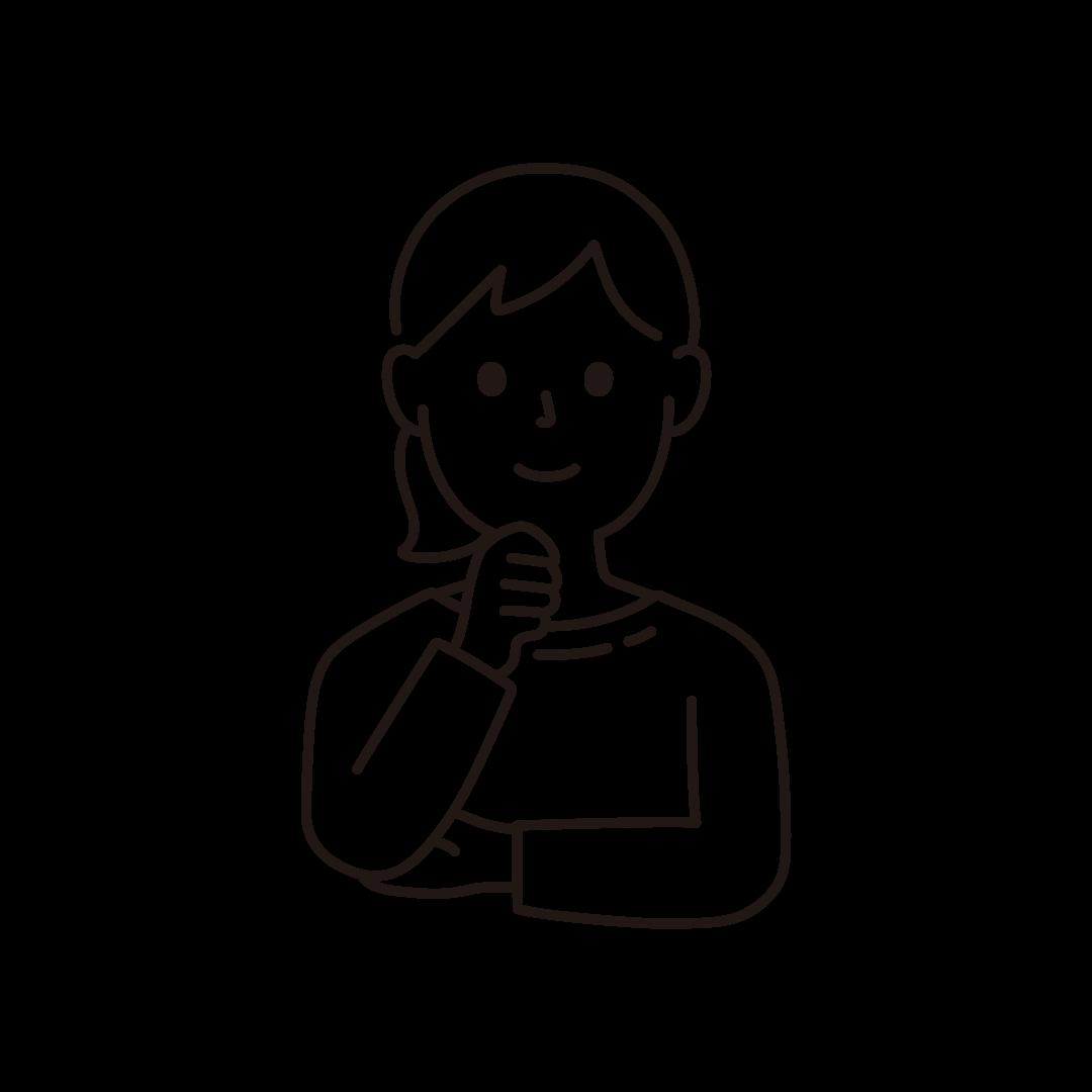 顎に手を当てる女性の線イラスト