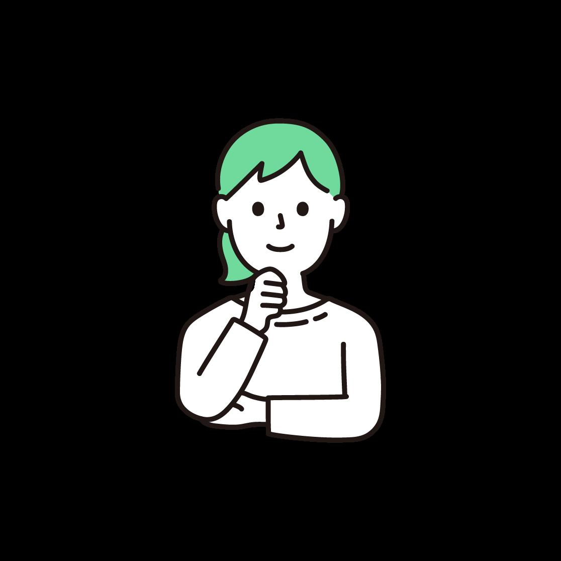 顎に手を当てる女性の単色イラスト