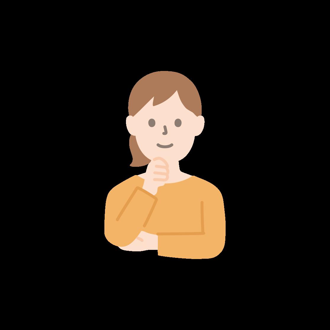 顎に手を当てる女性の塗りイラスト