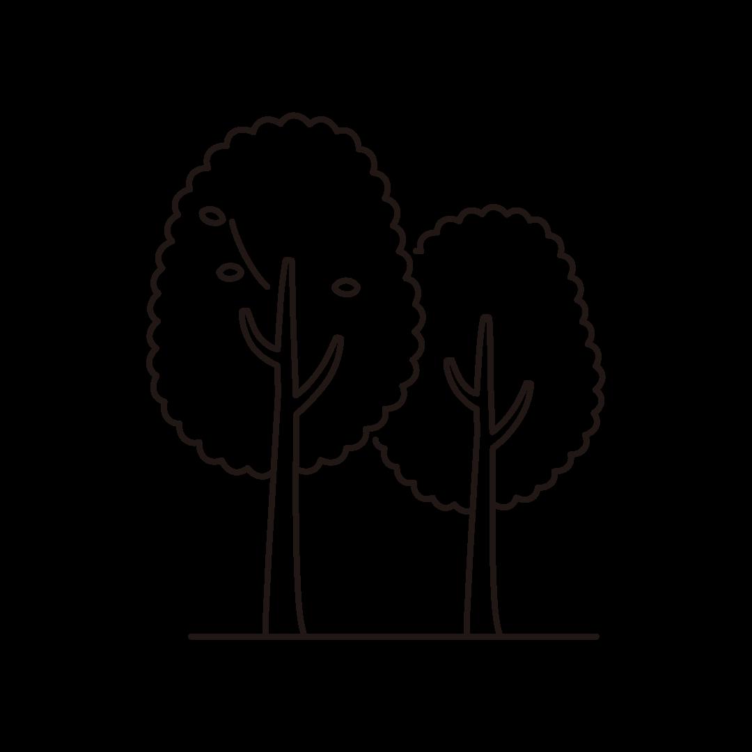 秋の木の線画イラスト