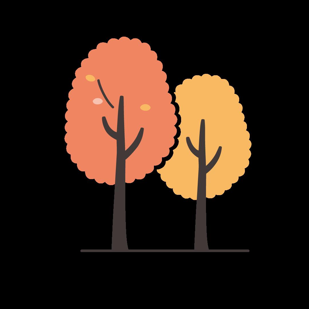 秋の木の塗りイラスト