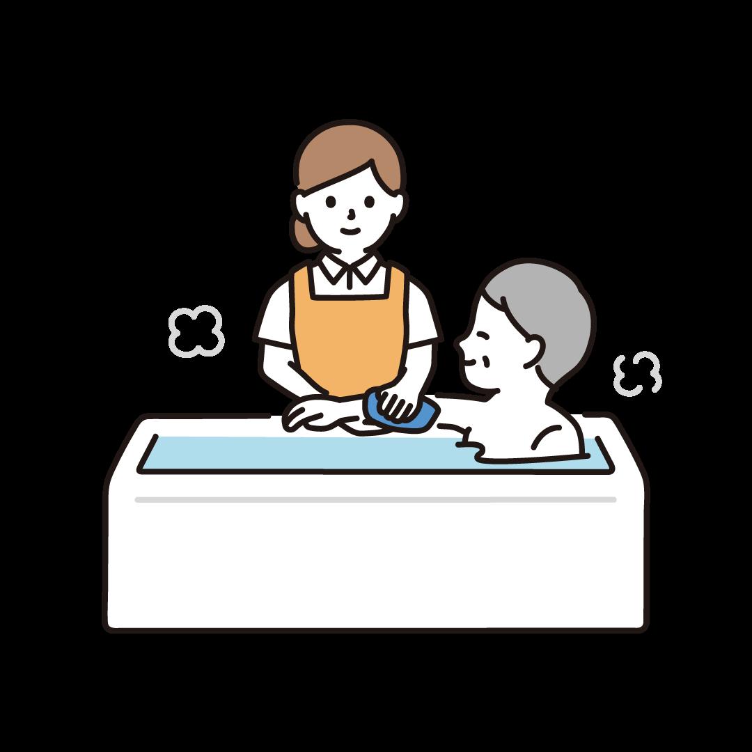 入浴介助をする女性のイラスト