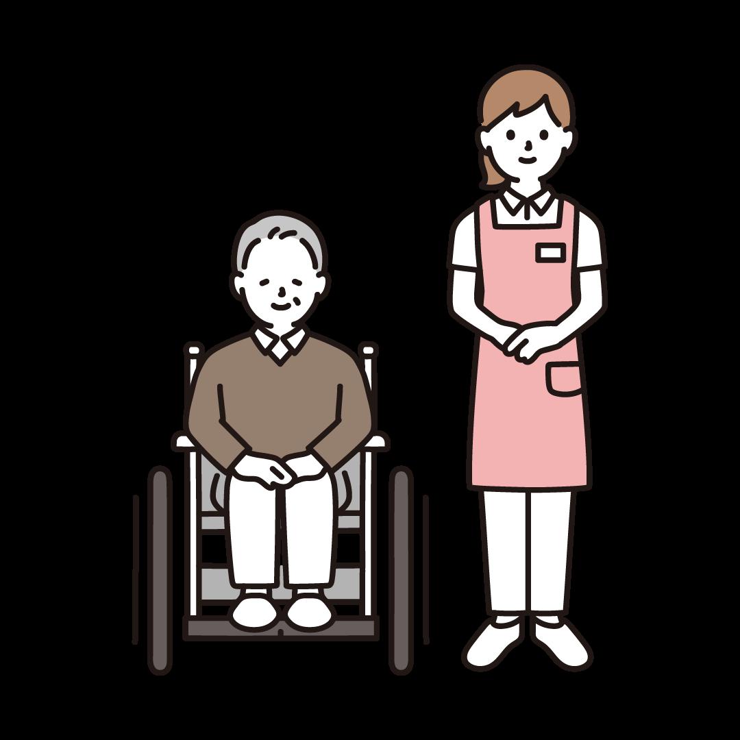 車いすのおじいさんと女性の介護士のイラスト
