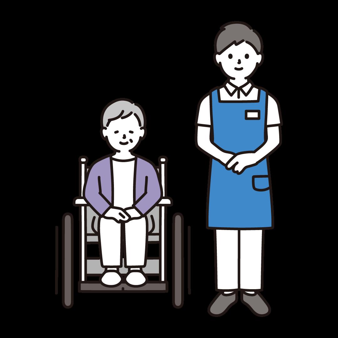 車いすのおばあさんと介護士(男性)のイラスト