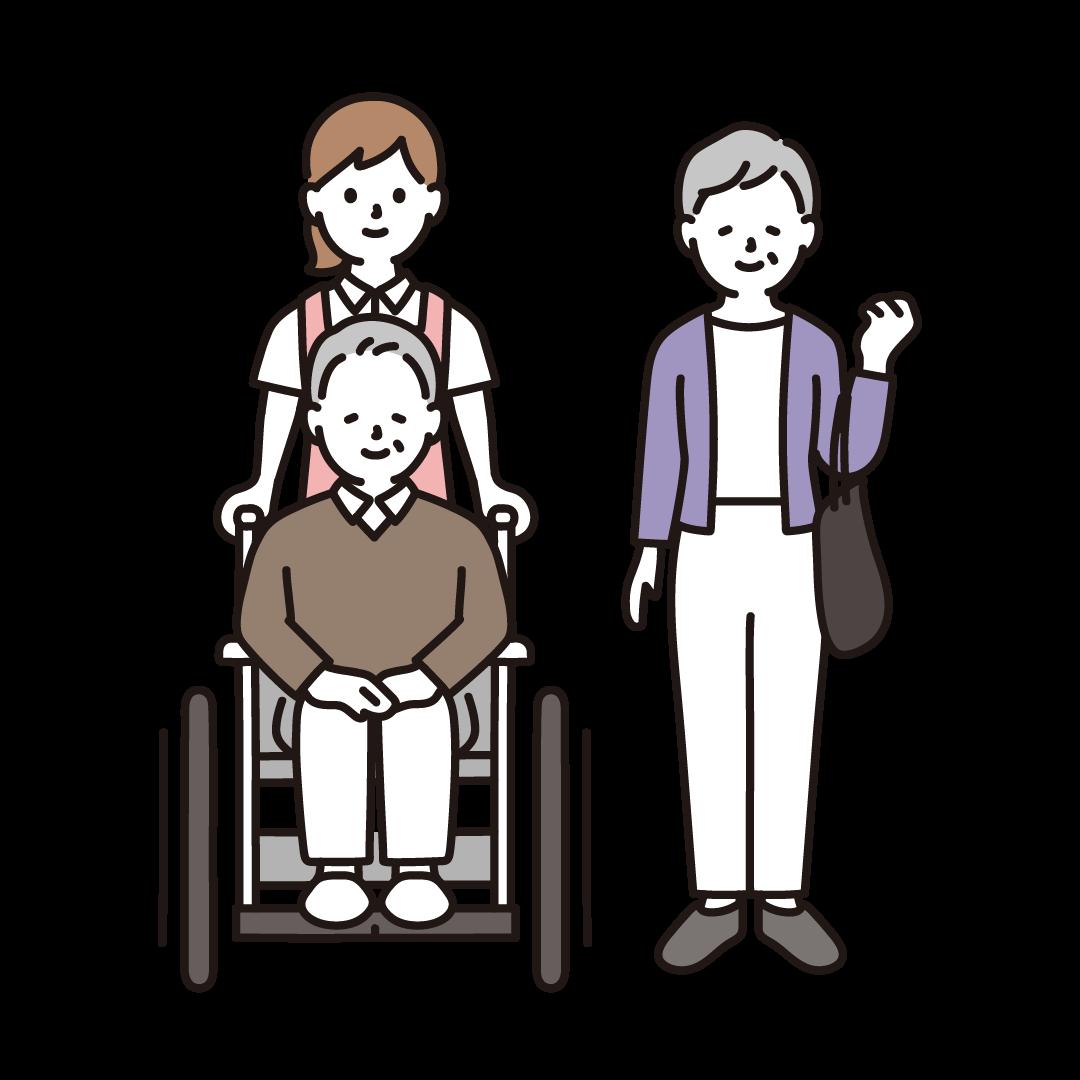 車いすのシニア夫婦と女性介護士のイラスト