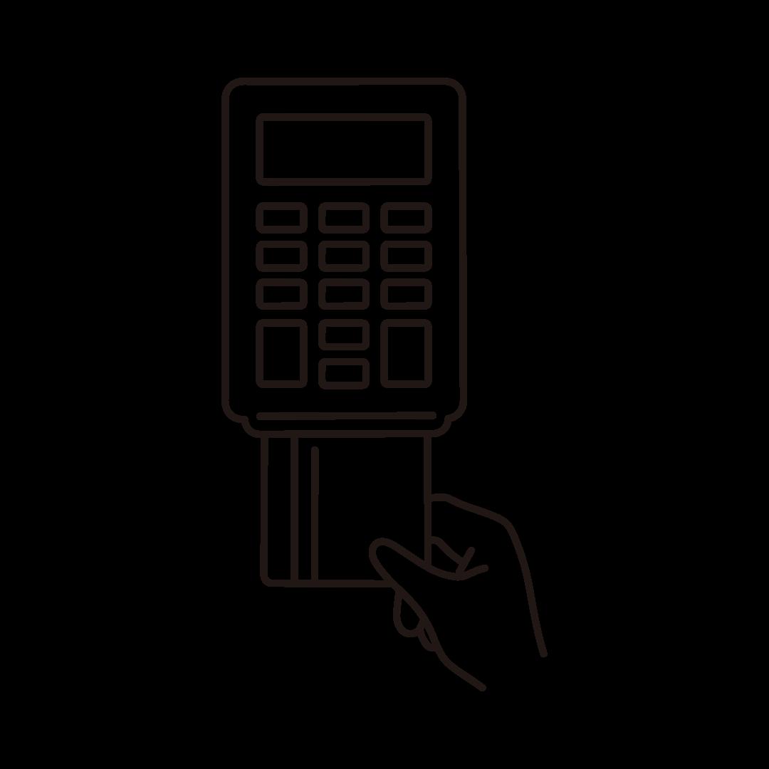 クレジットカード決済の線イラスト