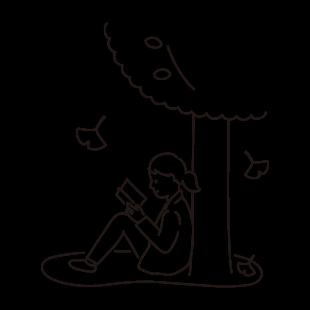 読書の秋の線画イラスト