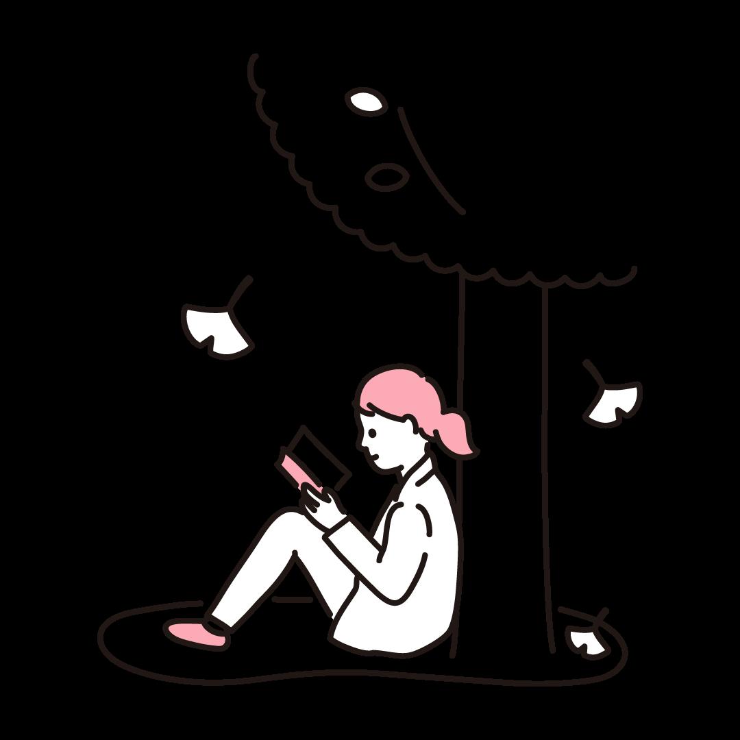 読書の秋の単色イラスト