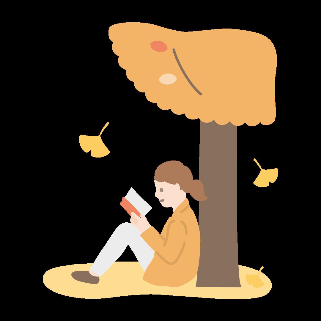 読書の秋の塗りイラスト