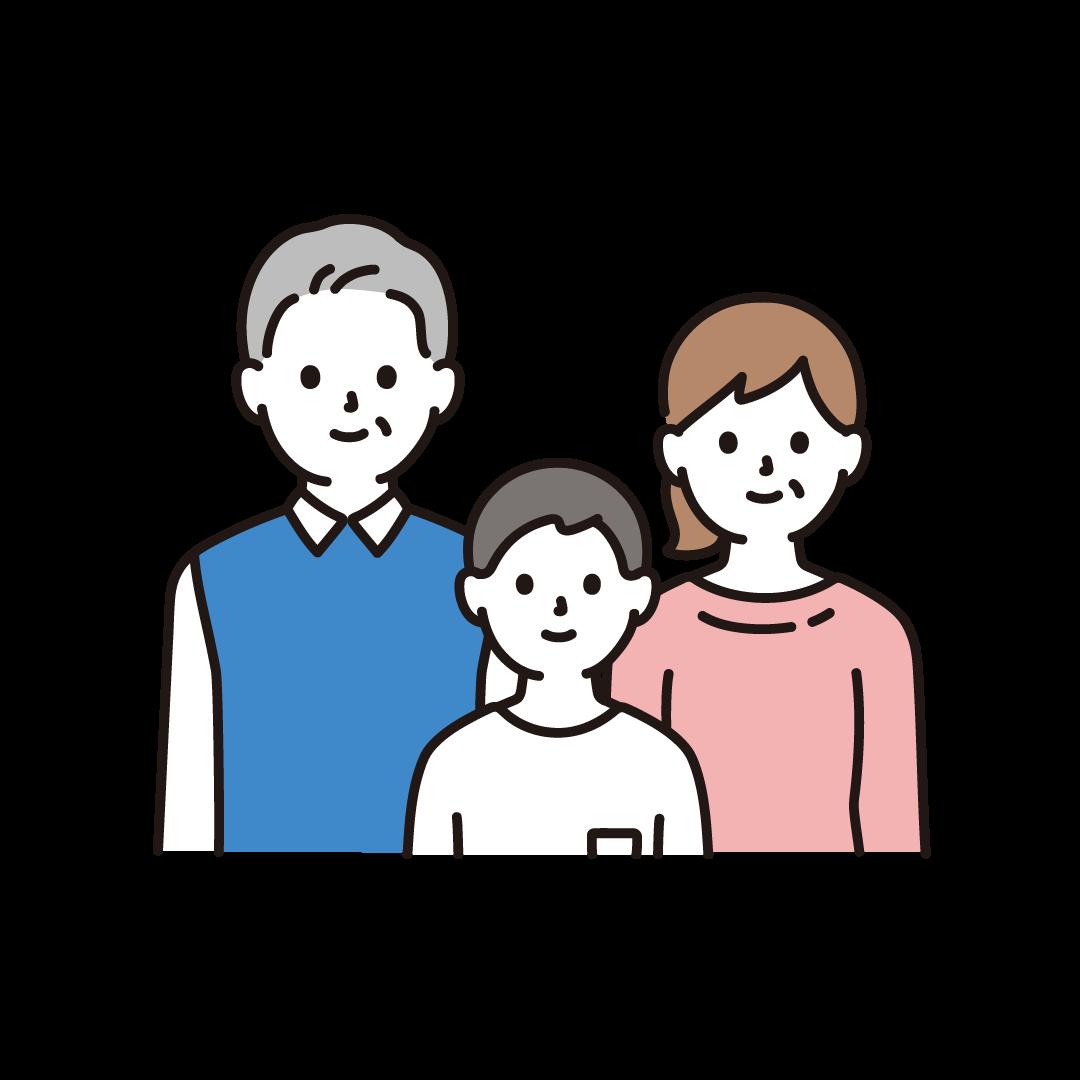 3人家族(上半身)のイラスト