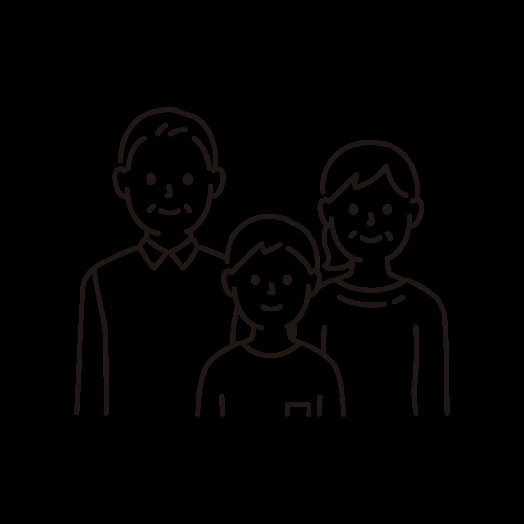 3人家族の線イラスト(上半身)