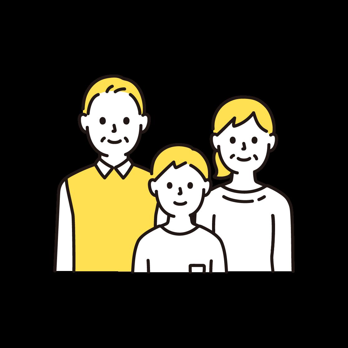 3人家族(上半身)の単色イラスト