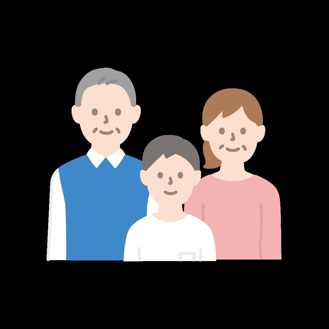 3人家族の塗りイラスト(上半身)