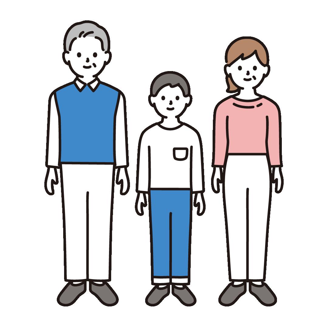 3人家族(全身)のイラスト
